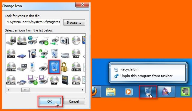 اضافه کردن سطل آشغال به تسکبار ویندوز